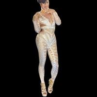Wholesale singer dance clothing online - Sexy White Black Jumpsuit Costume One Piece Nightclub Dance Group Dance Outfit Party Wear Singer Stage Performance Clothing