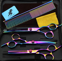 Wholesale pet grooming scissors sets for sale - Group buy Pets Colorful Plating pc Pet Grooming Scissors Straight Cut Set Sending Comb
