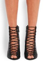 sandalias de encaje negro hasta sandalias al por mayor-2018 Sandalias con cordones para mujer Botas Botines con punk negro Cuñas atractivas Zapatos Mujer Diseño de moda Botas Mujer Sandalias