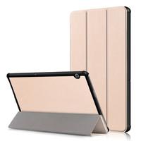 huawei mediapad ince durum toptan satış-Ultra İnce Tri-katlanır Kapak Kapak için Huawei MediaPad T5 10 AGS2-W09 / L09 / L03 / W19 10.1