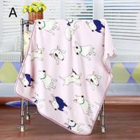 клетчатая фланелевая ткань оптовых-Optional Blue Pink Bull Terrier Printed Flannel Fabric Baby kid Bed Blanket Cover for Sofa/ Travel/ Car Plaids 100*73 7A0807