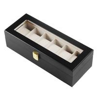Wholesale window jewelry - Watch Storage Box with 6 Grids and Glass Window Watch Display Case Jewelry Storage Organizer Box Gift OrganizerCHOONICE