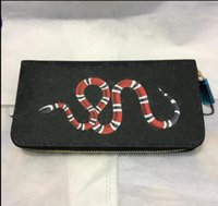 Wholesale womens black wallet - New men long Wallet, classic brown plaid , womens black plaid purse with coin pocket &card holder with gift box bags The tiger and snake