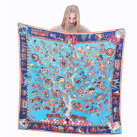 Wholesale charms for scarfs - 130x130cm Luxury Fashion Brand Charm Life Tree Printing Twill Silk Scarf For Women Headband Female Large Square Scarves Silk Shawls