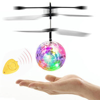 Wholesale toy airplanes helicopters for sale - RC Flying Ball LED Flashing Helicopter Remote Control Aircraft Infrared Induction Mini Drone with Colorful Lights toy RC airplane lights