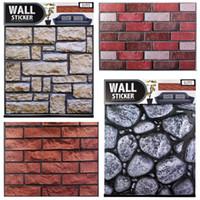 duvar kağıdı tuğla desen toptan satış-3D Tuğla Desen Duvar Sticker Vintage PVC Yapışkan Duvar Kağıdı Kiremit Duvar Sticker Duvar Sanatı Tuğla Odası Ev Dekor