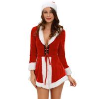 kadife seksi santa toptan satış-Kadınlar İki Adet Şık Kadife Santa Kostüm LC7275 Disfraces Cadılar Bayramı Mujer Kara Cuma'da İçin Kış Noel Yetişkin Seksi Kostümler