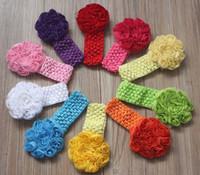 flores de crochet para faixas de bebê venda por atacado-40 pcs 8 cm chiffon tecido roseta flor com elástico crochê headbands para o cabelo do bebê acessórios, menina headband flor, headbands da criança