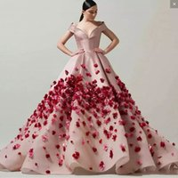 Wholesale pregnant evening wear - Aso Ebi Ball Gown Evening Dresses Capped V neck Handmade Flowers Appliques Prom Dress Long African Women Formal Wear pregnant dress
