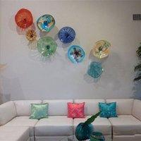 ingrosso piastre in vetro soffiato-Sofa Television Wall Art 100% soffiato a mano con lastre di vetro di Murano Wall Art in stile Cluster Home Decor Wall Plates