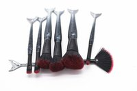 Wholesale Plastic Pouch Designs - New MAKEUPS Brushes Set 7pcs set Mermaid Handle Design Blush Powder Eyebrow Eye shadow Brushes with Pouch Bag Black DHL shipping
