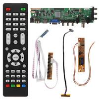 ingrosso interruttore lcd-1 Set New V56 V59 TV LCD Driver Board DVB-T2 + 7 Key Switch + IR + 1 Lampada Inverter + LVDS Kit 3663 Colore nero