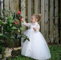 fildişi tül etek kızları toptan satış-2019 Dantel Beyaz Fildişi Çiçek Kız Elbise İlk Komünyon Elbiseler Yüksek Boyun Illusion 3/4 Uzun kollu Tül Katmanlı Etekler Doğum Günü Törenlerinde