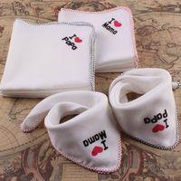 Wholesale baby i love mama - New Infant Bibs Baby Feeding I Love Papa Mama Cotton Multipurpose Kids Saliva Towel Newborn Gauze Handkerchief Burp Cloth Baby Bibs