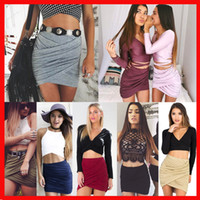 Wholesale Hot Women Short Skirts - Sexy women Skirts fold nightclub short dress 2018 Hot solid Folded skirts for womens above knee