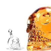bar ruhları toptan satış-Yaratıcı Kafatası Başkanı Viski Votka Şarap Sürahi Şişe Viski Cam Bira Ruhları Fincan Su Cam Bar Ev