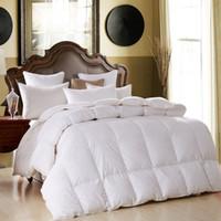edredón acolchado al por mayor-100% blanco plumón Single Double Warm Feather Core Edredones para el hogar de invierno Edredones acolchados rosas Suavemente cómodo 100% algodón