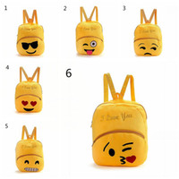 Wholesale cute rucksacks - Cute Children School Bag Emoji Emoticon Mochila Feminina Satchel Rucksack Bags Kids Cartoon Plush Emoji Backpack 6 Styles 12pcs OOA4495