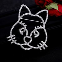 Wholesale Women Cat Suits - Men Women Fashion Luxury Brand Design Brooch White Gold AAA CZ Cat Kitty Brooch Suit Lapel Pin Brooch for Party Wedding Nice Gift