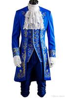 kostüm tier großhandel-Kukucos Herren Halloween Prinz Dan Stevens Blau Uniform Schönheit und Tier Cosplay Kostüm Outfit Anzug Retro-Stil