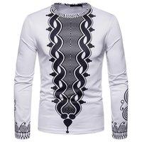 african prints materials großhandel-Herren Herbst Winter African aus hochwertigen Materialien 3D Print Langarm Dashiki O-Neck Sweatshirt Top
