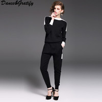 Wholesale Long Dance Sweaters - Dance&Gratify Knitted Casual Tracksuit Pant Suits 2017 Fashion Elegant 2 Piece Set Women Pullover Sweater And Trousers Set
