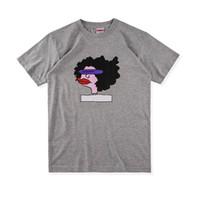 Wholesale Lips T Shirts Women - Europe Fashion High Quality Box logo Anime Hip Hop Gonz Ramm Tee Thick Lips Skateboard Cool T-shirt Men Women Cotton Casual Cartoon T-Shirt