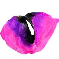 mujer sexy bailando velos al por mayor-Hacer mujeres de alta calidad seidenschleier sexy danza del vientre velo bufanda 100% auténtico velo de seda danza del vientre negro + púrpura + rosa