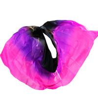 lila goldschleier großhandel-Herstellung von hochwertigen Frauen Seidenschleier sexy Bauchtanz Schleier Schal 100% authentische Seidenschleier Bauchtanz schwarz + lila + rose