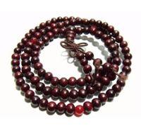 ingrosso legno di sandalo rosso mala-6mm Tibet Buddhism 108 Red Sandalwood Prayer Bead Mala