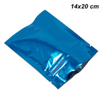 Wholesale bags giveaways for sale - Group buy 14x20 cm Retail Blue Foil Mylar Resealable Sample Giveaway Storage Pack Pouch Airtight Mylar Foil Aluminum Food Grade Packing Bag