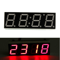 Wholesale Led Digital Clock For Car - Wholesale-3 In 1 Digital Led Electronic Clock Time+Temperature+Voltage For Car Electronic 12V 24V