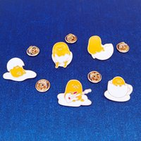 ingrosso arredamento tibet-Lazy egg shell lega di piccole dimensioni smalto spille pins mini spille per uomo abbigliamento donna vestiti camicia colletto decor accessori moda