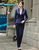 chaquetas de las señoras azules al por mayor-Trajes de negocios de las mujeres Blazer azul marino formal con pantalón y chaqueta Set Señoras ropa de trabajo uniformes de oficina