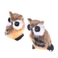 künstliche tiere heimdekorationen großhandel-10x5 cm Künstliche Tier Eule Spielzeug Pelz Polyethylen Modell Hauptlieferungsdekoration Weihnachtsgeschenk Für Baby