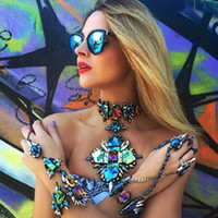 Wholesale statement necklaces resale online - whole sale4 Colors Crystal Choker Necklace For Women Black Green Crystal Statement Square Pendant Necklace Body Party Jewelry JURAN