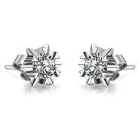 ingrosso orecchini di diamanti di alta qualità-Orecchini d'argento all'ingrosso Snowflake 1 carati / pezzo Alta qualità simulare orecchini con diamanti per le donne Orecchini di nozze placcato platino