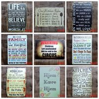 Wholesale Cast Iron Decorations - Frameless Decoration Tin Posters Romantic English Poetry 20*30cm Iron Painting Our Kitchen Rules Life Simple Tin Sign High Quality 3 99ljL B