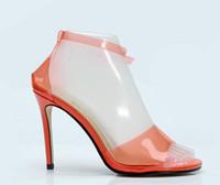 sapatas alaranjadas do salto alto da cor venda por atacado-2018 novas mulheres sandálias de PVC sapatos de celebridades orange cor de salto alto sapatos de casamento senhoras de salto fino sapatos de festa do PVC sandálias gladiador
