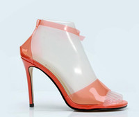 zapatos de tacón alto de color naranja al por mayor-2018 nuevas mujeres sandalias de PVC zapatos de la celebridad de color naranja tacones altos zapatos de boda del talón delgado de las señoras del partido zapatos de PVC sandalias de gladiador