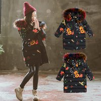 Wholesale 2018 Fashion Winter Coat for Girls Children Clothing Big Girls Printed Cotton padded Jacket with Fur Hooded Parka Kids Outerwear