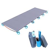 portatif açık kamp matları toptan satış-SICAK! Alüminyum Çerçeve ile Kamp Mat Ultralight Sağlam Rahat Taşınabilir Tek Katlanır Kamp Yatağı Cot Uyku Açık
