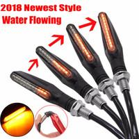 4pcs set Flowing Universal Motorcycle Turn Signal Indicators 12LED 12V Blinkers Flexible Bendable Lamp Light Amber