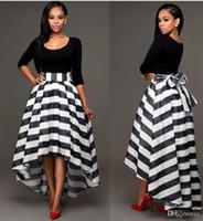 schwarze lange rockanzug großhandel-Schwarze und weiße Kleider Knöchel Länge Kleider Gestreifter Rock O-Ausschnitt Zweiteilige Anzug Rock Einfarbig Langärmelige Bluse