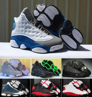 Wholesale womens discount basketball shoes - 2018 Mens Basketball Shoes Womens Bred Black True Red History Of Flight DMP Discount Sports Shoe Women Sneakers 13s US 5-13