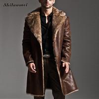 Wholesale mens vintage wool coat - Mens Black Leather Jacket Faux Fur Coat Long Laather Trench Overcoat Men Vintage Thick Reversible Pocket Overcoat Plus Size 7XL