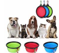 plato gratis al por mayor-Viaje plegable Pet Dog Cat Feeding Bowl Agua Plato Alimentador Silicona Plegable 9 colores para elegir Envío gratis DHL
