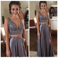 Wholesale piece online - 2018 Sexy Custom Online Two Piece A-Line Prom Dresses Crystals Beaded Sexy Deep Neck Vintage Satin Side Slit Formal Party Evening Gowns