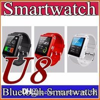 Wholesale Remote Control Stopwatch - 500X U8 U Watch With sleep monitor pedometer stopwatch Bluetooth Smart Watch DZ09 GT08 A1 For iPhone Samsung HTC Android Smartphones A-BS