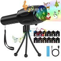 Wholesale blue light flashlights online - Christmas Led Projector Light Battery Operated USB with Slides Music Carousels Tripod Decoration Light Handheld Flashlight for Party